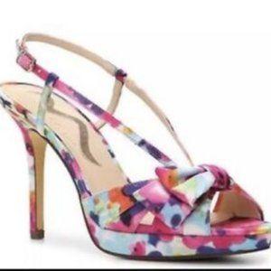 Nina Felita Pink-floral heels size 7M / 37